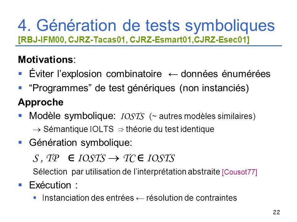 4. Génération de tests symboliques [RBJ-IFM00, CJRZ-Tacas01, CJRZ-Esmart01,CJRZ-Esec01]